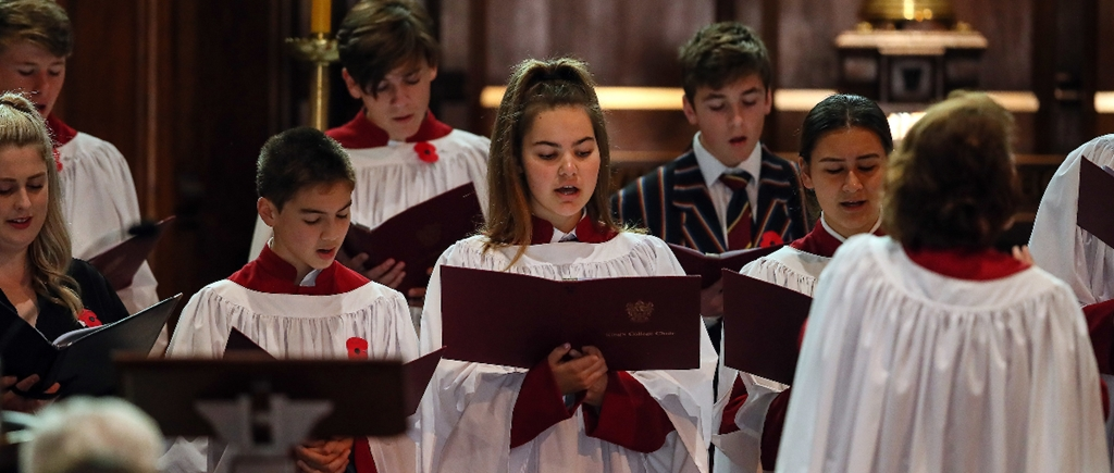 King's College Chapel Choir sings on ANZAC day