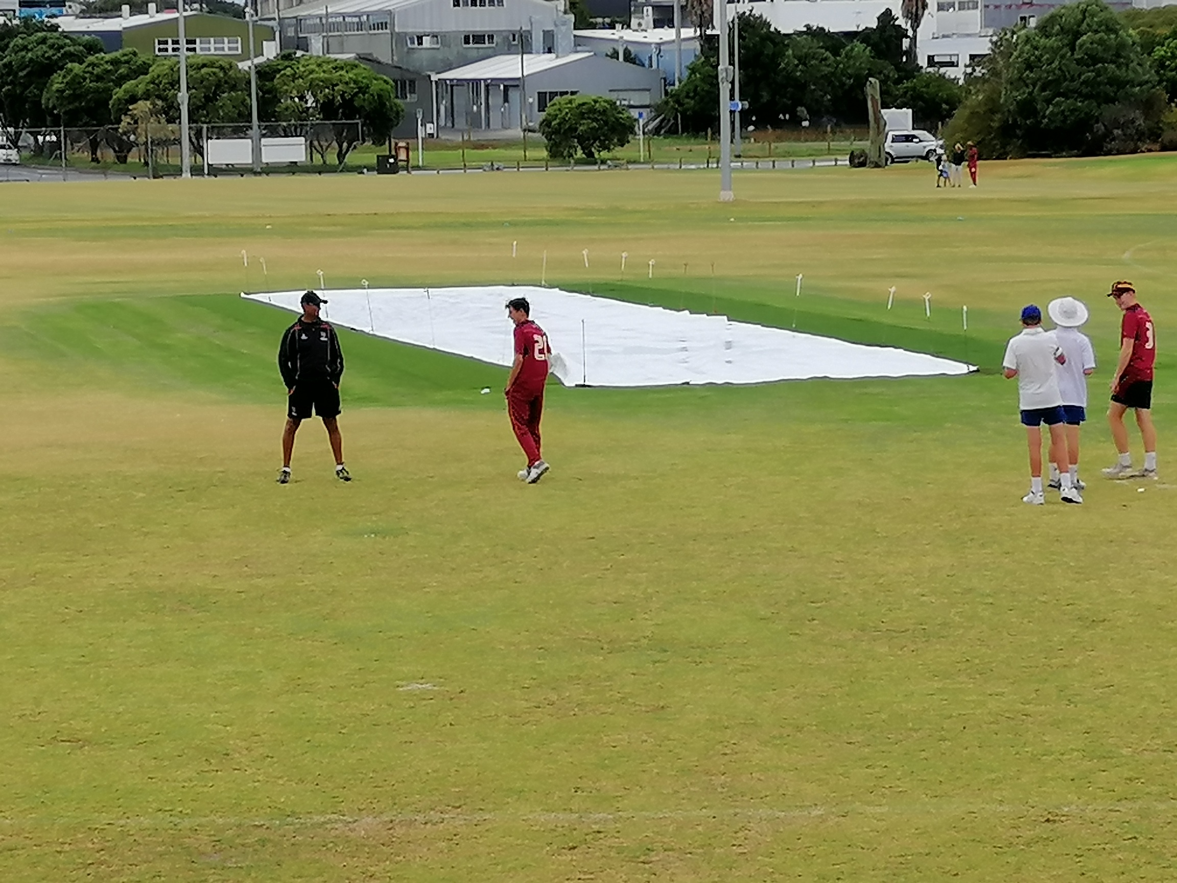 The Covers Stay On After The 16Th Over Till After Lunch The Match Was Interrupted 4 Occasions And Rain Dominated Proceedings For Most Of The Morning